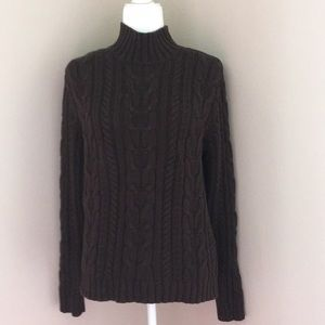 Chaps mock neck Brown Cable Knit Sweater